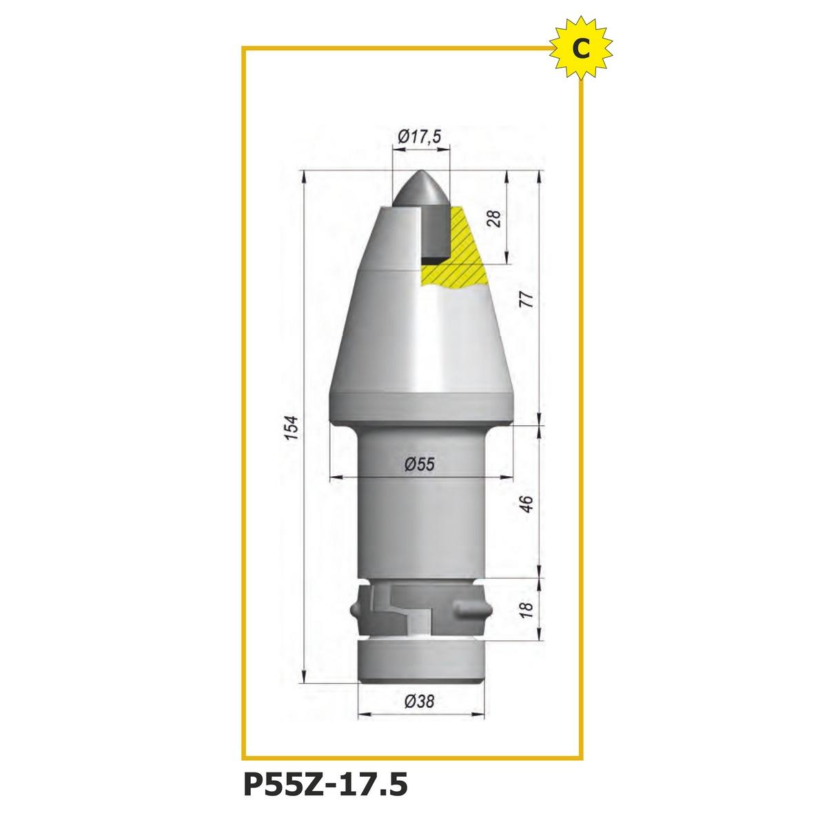 Тангенциальный поворотный резец P55Z-17.5