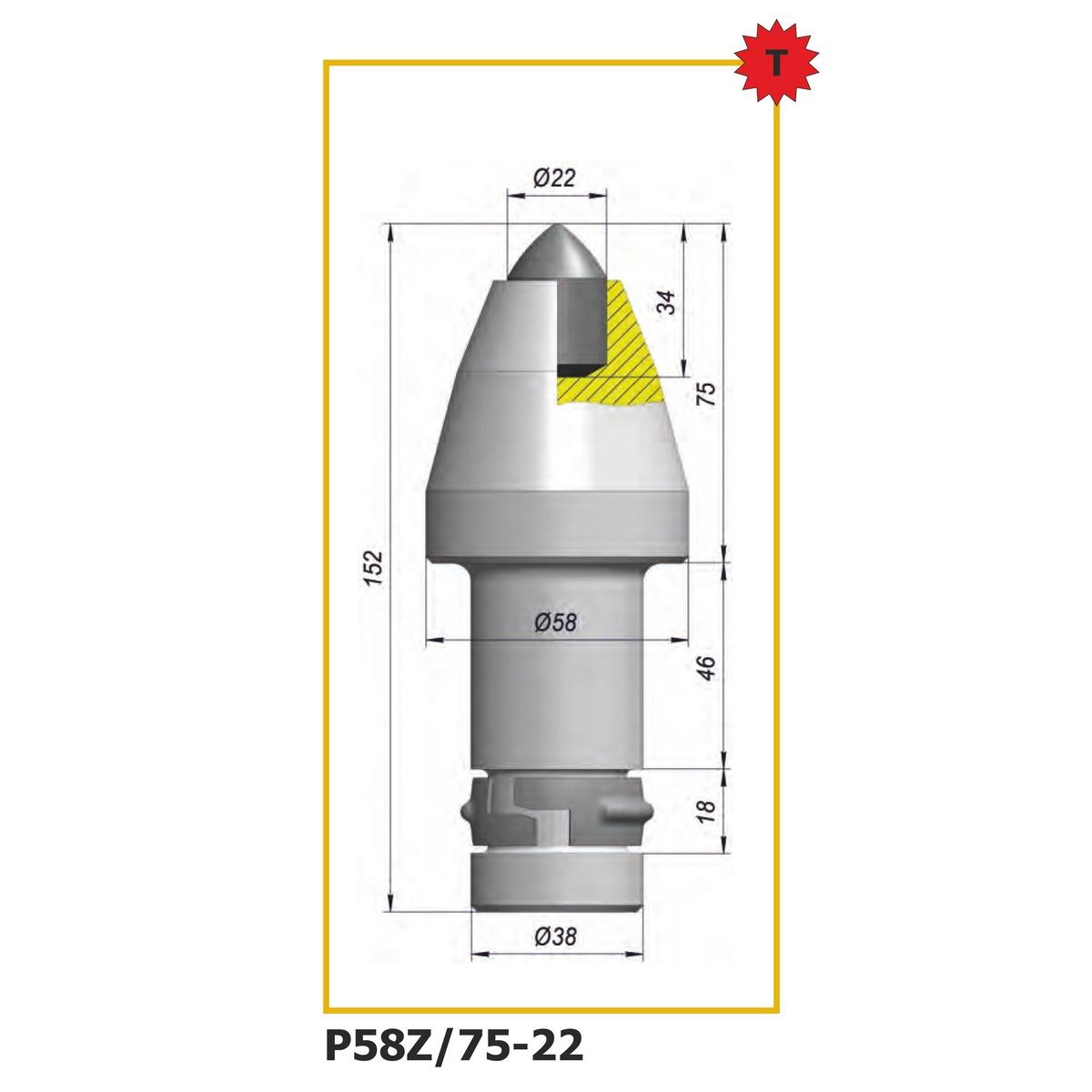 Тангенциальный повортные резец P58Z-75-22