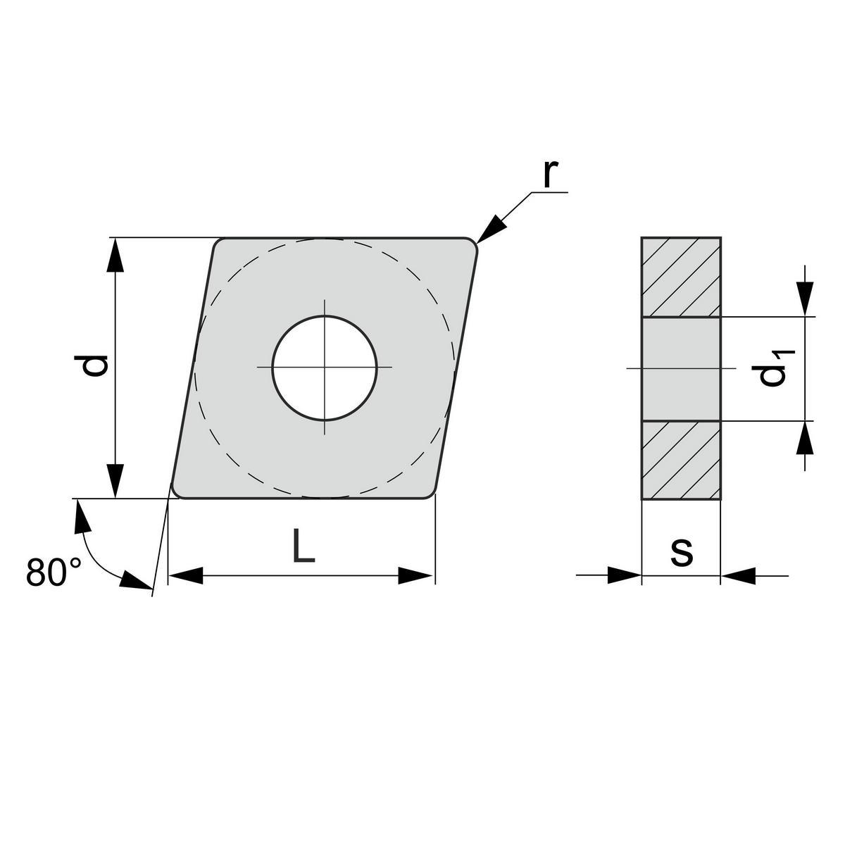 Размеры твердосплавной пластины CNMG